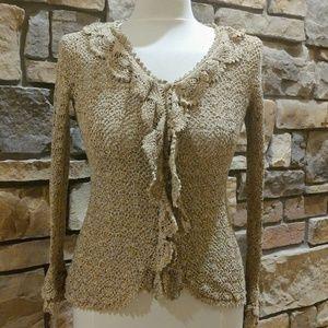 Crocheted Boho Chic Cardigan Top W/ Ruffles